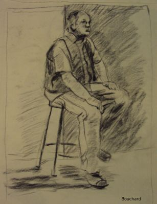 Man sitting on stool