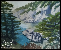 Maine Coast Watercolor Painting by Veronica Bouchard