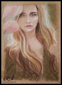 Pastel portrait on toned paper by Veronica Bouchard
