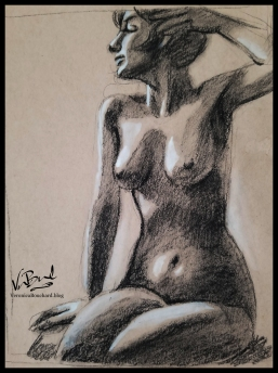 Charcoal figure study on toned paper by Veronica Bouchard