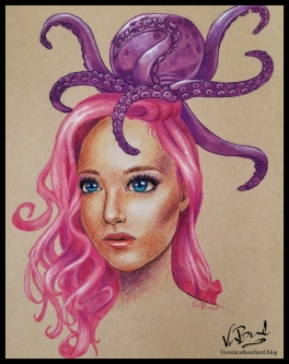 Drawing of a girl with an octopus on her head by Veronica Bouchard