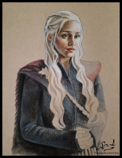 Daenerys of the House Targaryen, the First of Her Name, The Unburnt, Queen of the Andals, the Rhoynar and the First Men, Queen of Meereen, Khaleesi of the Great Grass Sea, Protector of the Realm, Lady Regnant of the Seven Kingdoms, Breaker of Chains and Mother of Dragons. Unfinished colored pencil fan art by Veronica Bouchard