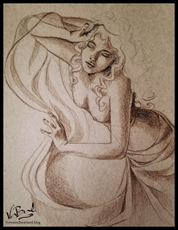 Pencil drawing on toned paper by Veronica Bouchard