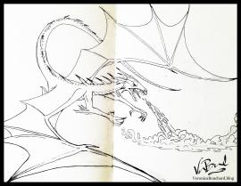 Dragon Sketch ink drawing in moleskin sketchbook by Veronica Bouchard