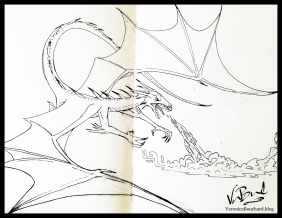 Dragon Sketch ink drawing in moleskin sketchbook by Veronica Bouchard