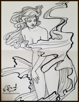 Nymph pen and ink drawing by Veronica Bouchard