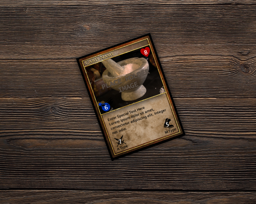 Custom playing card template for a fantasy horror card game.
