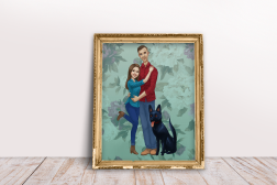 A cartoon styled family portrait of my sister, her man and her pup
