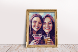 Colorful portrait of my sister and her bestie