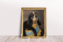 Hand drawn and painted pet portrait