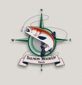 salmon logo colored text